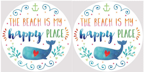 Clementine 4039 The Beach Is My Happy Place Whale with Red Heart Car Coasters Set of 2