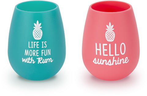 Pavilion 73223 Life Is More Fun With Rum Hello Sunshine Pink & Teal  Pineapple 13 oz Silicone Win
