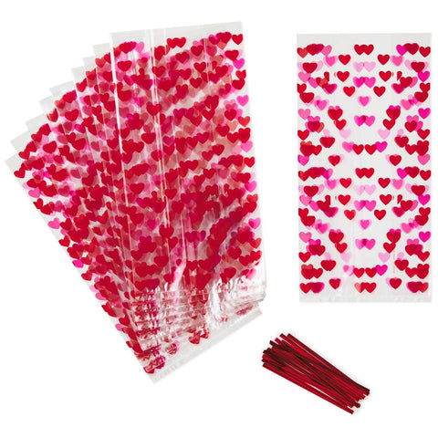 Hallmark Scattered Hearts Cello Treat Bags, Pack of 15