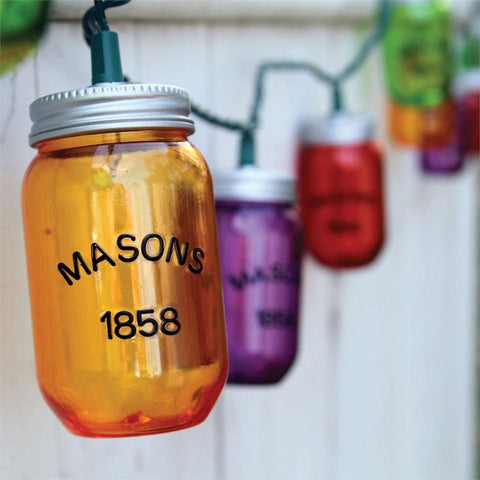 DEI 10 Colorful Mason Jar Party String Lights Indoor/Outdoor Decor-8 Ft