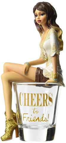 Pavilion 73703 Hiccup H2Z Cheers to Friends Girl in Shot Glass, 5-3/4-Inch High