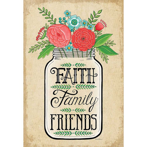 Dicksons Faith Family Friends Rustic Mason Jar 29 x 42 Rectangular Large House Flag