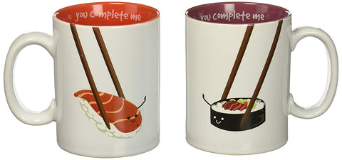 Pavilion 70174 Late Night Snacks Sushi Complimentary Coffee Mugs, 18 oz, Multicolor