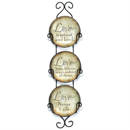 Dicksons Mini Ceramic Wall Plates with Metal Hanger (Set of 3) (Love Never Fails)