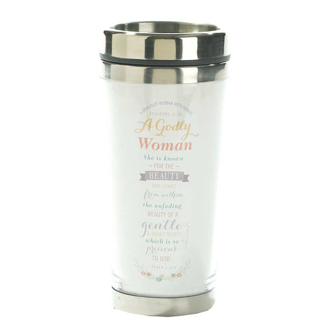 Dicksons A Godly Woman Proverbs 11:16 White 16 Oz. Stainless Steel Insulated Travel Mug with Lid
