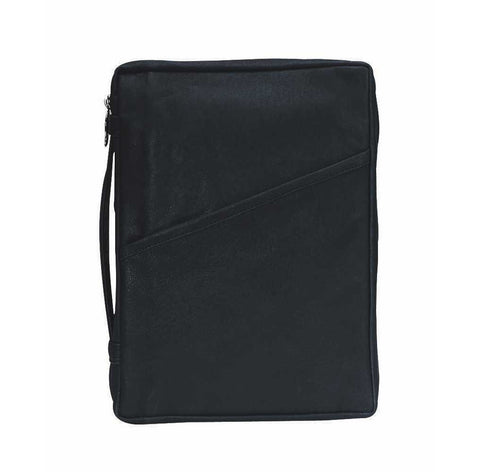 Dicksons Black Classic Leather Bible Cover Case with Handle, Large