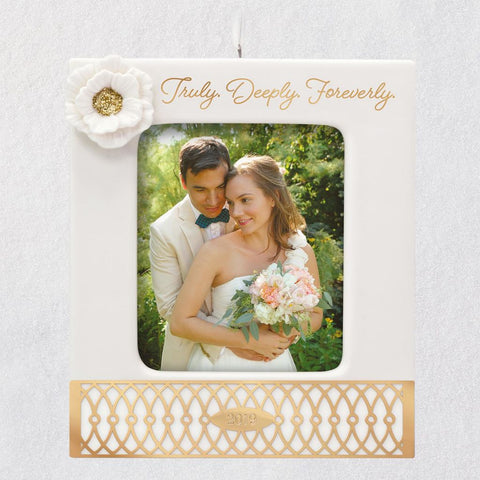 Hallmark Truly. Deeply. Foreverly. Wedding 2019 Porcelain and Metal Photo Frame Ornament