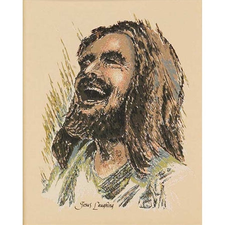 Dicksons Joyful Laughing Jesus Artistic Sage And Taupe 8 x 10 Wood Wall Sign Plaque