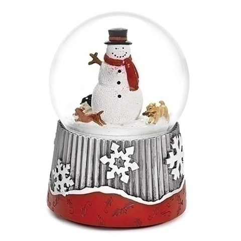 Roman Musical 6-inch Snowman with Rotating Dogs Dome