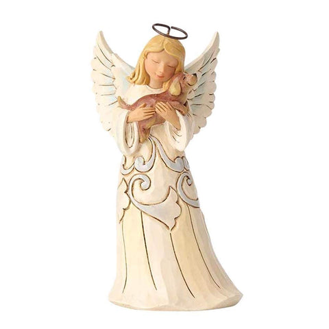 Enesco 4060962 White Farmhouse Angel with Dog by Jim Shore