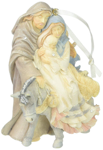 Enesco Foundations Holy Family with Donkey Ornament