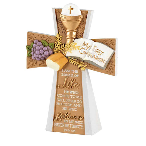 Dicksons My First Communion Cross Gold Tone 4 x 5.5 Resin Stone Tabletop Figurine