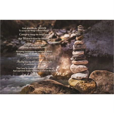 Dicksons Serenity, Courage, Wisdom Prayer Rock Tower Flowing River Wood Wall Sign Plaque