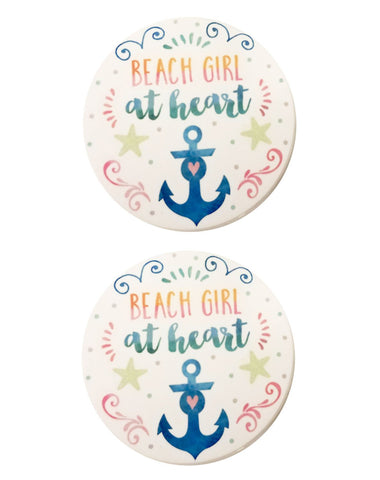 Clementine 4037 Beach Girl Set of 2 Stoneware Car Coasters