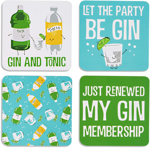 "Pavilion 74933 Gin & Tonic Sentiment, Pattern and Character Holder 4"" (4 Piece) Coaster"