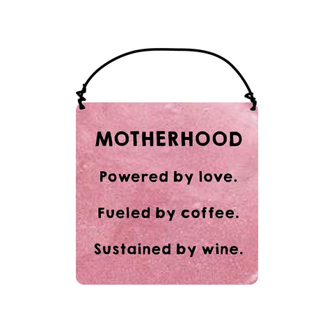 "Enesco 6001047 Our Name Is Mud ""Motherhood"" Ceramic Hanging Sign, 3""x3"" , Pink"