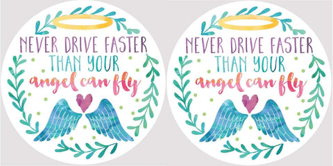 Clementine 4056 Never Drive Faster Than Your Angel Can Fly Halo and Wings Car Coasters Set of 2
