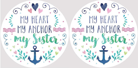 Clementine 4054 My Heart My Anchor My Sister Car Coasters Set of 2