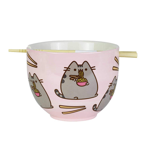 "Enesco Pusheen by Our Name is Mud Ramen Bowl and Chopsticks Set 4"" Pink"