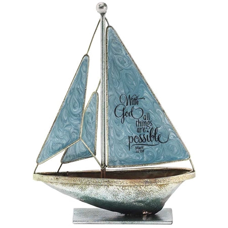 Dicksons With God All Things Possible Matthew 19:26 6 x 5 Metal Table Top Sailboat Figurine Decorati