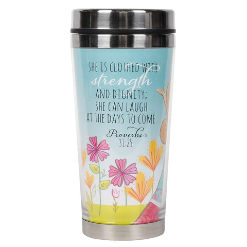 Dicksons Proverbs 31 Woman Blue Sky Sketch 16 Oz. Stainless Steel Insulated Travel Mug with Lid
