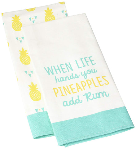 Pavilion 73230  When Life Hands You Pineapples Add Rum Teal & Yellow Patterned Tea Towel S