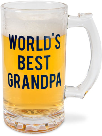 Pavilion 14277  World's Best Grandpa 16 oz Glass Beer Stein