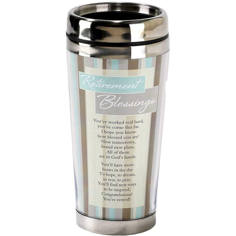 Dicksons Retirement Blessings Brown Stripes 16 ounce Stainless Steel Insulated Travel Mug with Lid