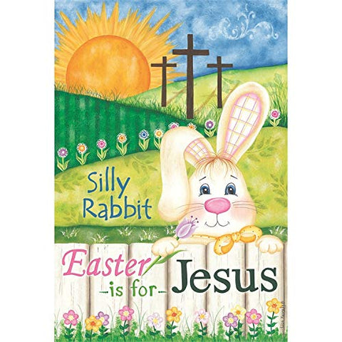 Dicksons Easter is for Jesus Rabbit Springtime Hues Polyester Small Garden Flag