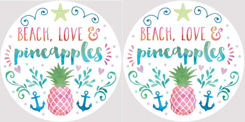 Clementine 4042 Beach Love and Pink Pineapples Car Coasters Set of 2