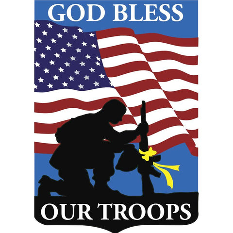 Dicksons Patriotic God Bless Our Troops Soldier Silhouette 18 x 13 Shield Shape Small Garden Flag