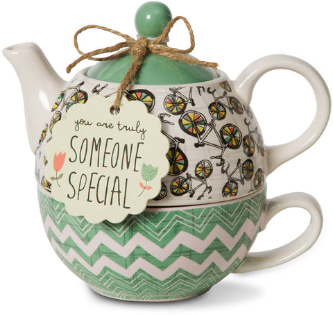 Pavilion 74072 Bloom Someone Special Ceramic Tea for One, 15 oz, Multicolor