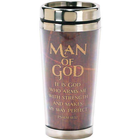 Dicksons Man of God Woodgrain Psalm 18:32 Insulated 16 Oz. Stainless Steel Travel Mug with Lid