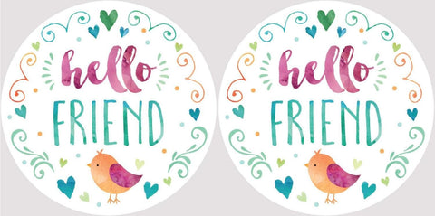 Clementine 4058 Hello Friend Little Birdie Car Coasters Set of 2