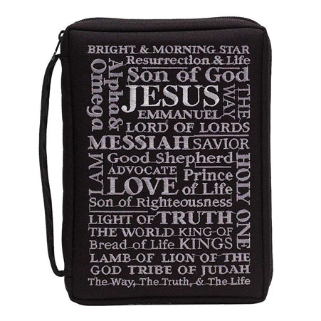 Dicksons Black Names of Jesus 9 x 11.5 Embroidered Polyester Bible Cover Case with Handle