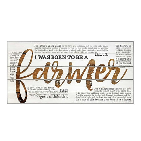 dickson I Was Born To Be A Farmer 24 x 12 Wood Decorative Sign Plaque