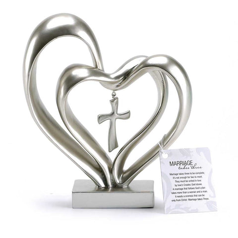 Dicksons Marriage Dicksons Three Matte Silver Finish 13X8 inch Cross in Middle of Hearts Tabletopper