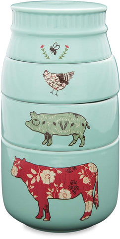 Pavilion 23130 Live Simply Bee Chicken Pig and Cow Measuring Cups, Teal