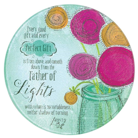 Dicksons Every Good and Perfect Thing James 1:17 Newspaper Print 8 x 8 Glass Round Kitchen Cutting B