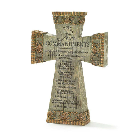 Dicksons The Ten Commandments Antiqued Filigree 9 Inch Resin Tabletop Cross