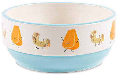 Pavilion 74949 Mac & Cheese-Patterned 6.25 Inch Light Blue Ceramic Snack Bowl