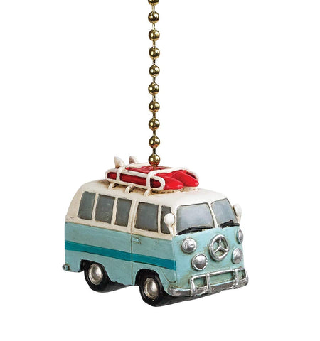 Clementine 381 Blue Beach Bus Van Fan Pull