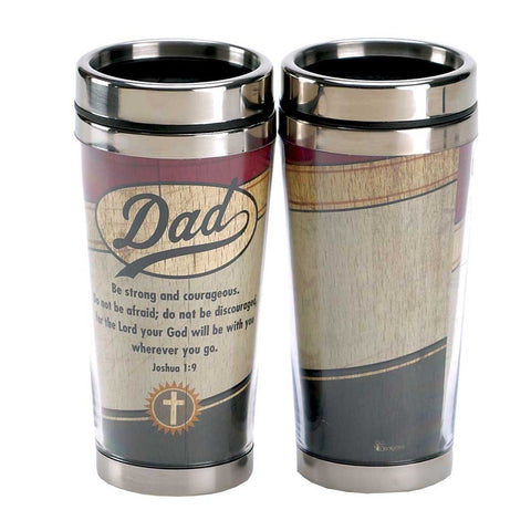 Dicksons Dad Be Strong Joshua 1:9 Insulated 16 Oz. Stainless Steel Travel Mug with Lid