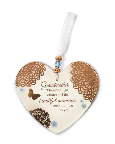 "Pavilion 19038 Memories of Grandmother 4"" x 6"" Heart-Shaped Ornament"