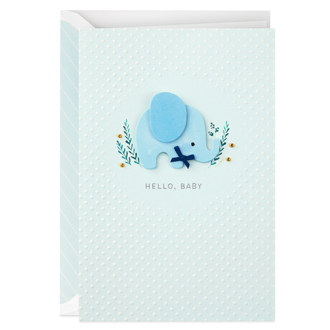Hallmark Signature Sweet Blue Elephant New Baby Congratulations Card