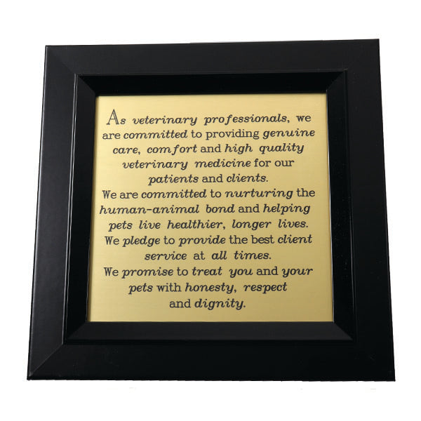 """As Veterinary Professionals..."" Engraved Plaque"