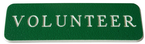 Volunteer Name Badge - Green / White