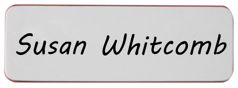 Write-Boards™ Name Badge - White / Red