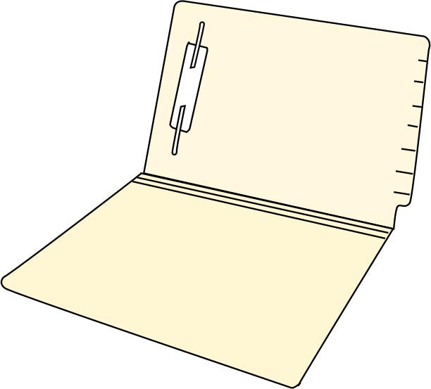 Letter Size End Tab File Folder - Reinforced Edge with Fastener
