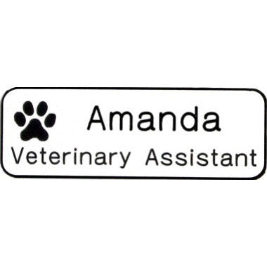 Engraved Name Badge With Paw